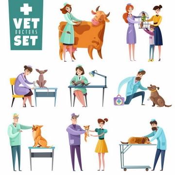 卡通漫画风格各种兽医宠物医生png图片免抠矢量素材
