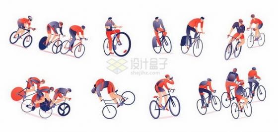 扁平插画风格骑自行车的健身人群png图片免抠矢量素材