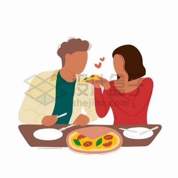 正在相互喂食的情侣手绘扁平插画png图片免抠矢量素材