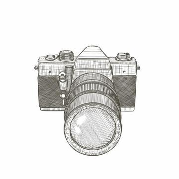 灰色线条素描风格数码单反照相机png图片免抠矢量素材