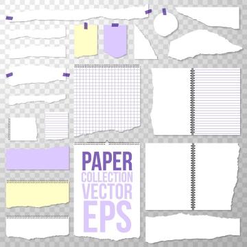 各种纸片撕纸破碎的纸张效果图片免抠矢量素材