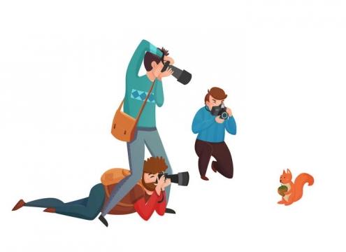 卡通风格三个摄影师正在拍摄小松鼠动物摄影图片免抠素材