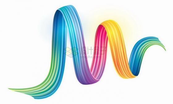 抽象彩色丝绸螺旋装饰品png图片免抠矢量素材