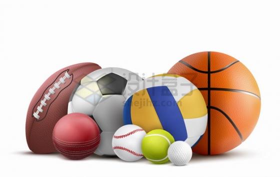 橄榄球足球高尔夫球棒球排球篮球等放在一起的体育运动球类png图片素材