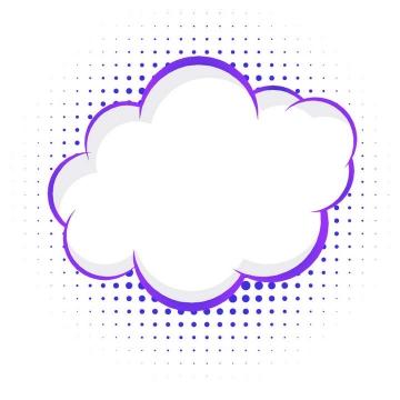 紫色卡通风格线条圆点对话框文本框图片免抠素材