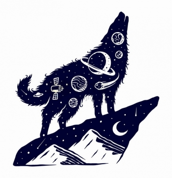 站在山巅嚎叫的森林狼抽象太空手绘插画png图片免抠矢量素材