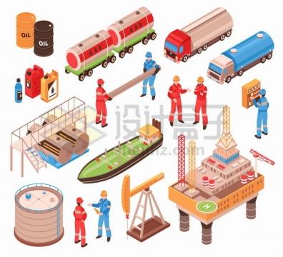 海上钻井平台磕头机油轮油罐车石油开采炼油工业png图片素材