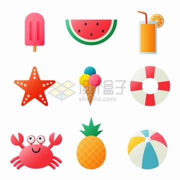 卡通冰棒西瓜橙汁海星冰淇淋螃蟹菠萝等png图片免抠矢量素材