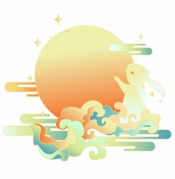 中秋节卡通玉兔踩着祥云拥抱月亮插画230994png矢量图片素材