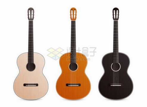 三种颜色的古典木吉他音乐乐器png图片免抠矢量素材