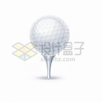 金属银色球座上的高尔夫球体育运动png图片素材