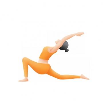 练习做瑜伽动作的女孩扁平插画852030png图片素材