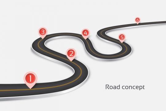 立体风格弯曲的S型公路道路红色定位标志PPT元素图片免抠矢量素材