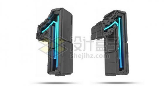 C4D风格蓝色灯光黑色科幻3D立体数字一1艺术字体659171psd/png图片素材