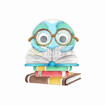 彩绘世界读书日趴在书本上看书的卡通地球png图片免抠矢量素材
