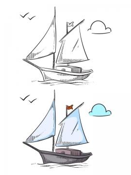 手绘素描和上色的帆船船舶图片免抠素材