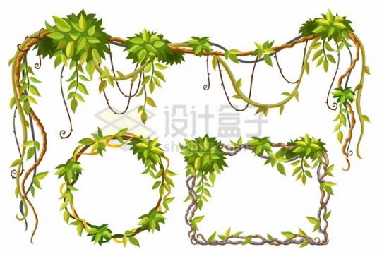 3款绿色树叶藤蔓装饰边框811737png图片素材