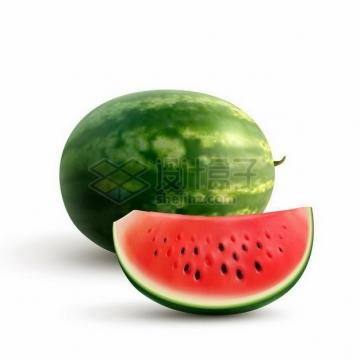 一个西瓜和切开的半个西瓜美味水果png图片免抠矢量素材