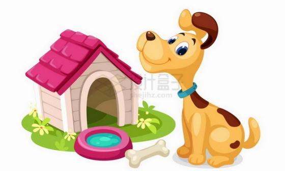 可爱的卡通狗狗和它的狗窝png图片免抠矢量素材