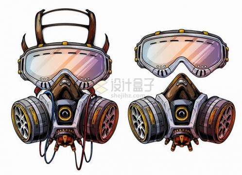 两款漫画风格防毒面具png图片免抠矢量素材