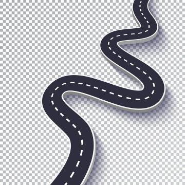 简约弯曲的立体公路道路步骤图时间轴图片免抠矢量图