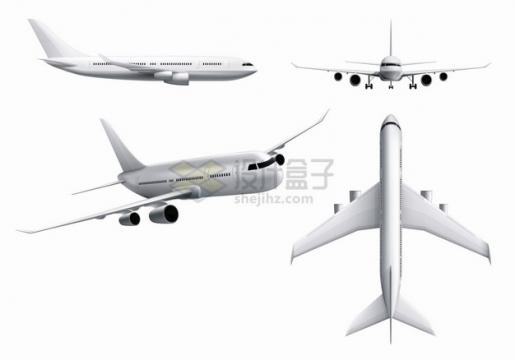 银色大型飞机客机的四视图719235png图片素材