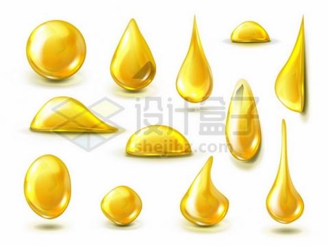 各种金黄色的油滴液滴水滴效果577105png图片素材