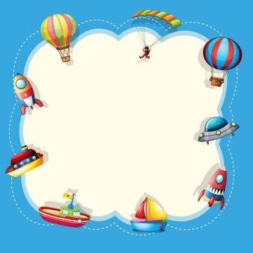 各种卡通热气球火箭儿童节边框图片免抠素材