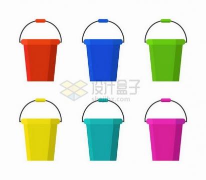 6款扁平化风格彩色水桶png图片免抠矢量素材