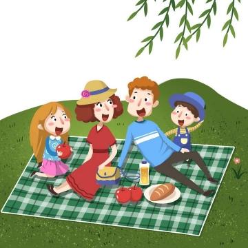 卡通手绘插画风格春天在草地上野炊的一家四口图片免抠素材