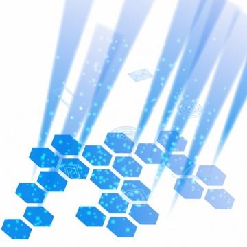 蓝色科技风格六边形装饰270381png矢量图片素材