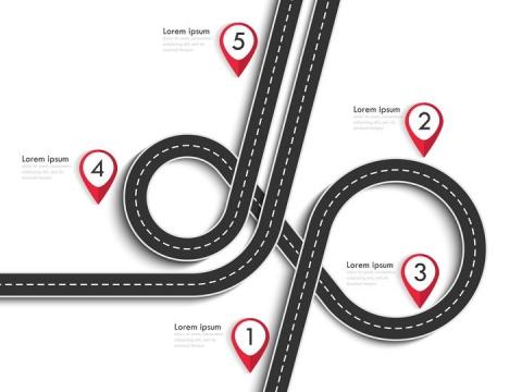 复杂弯曲的立体立交桥风格公路道路步骤图时间轴图片免抠矢量图