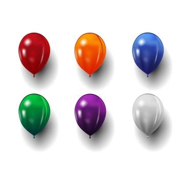 6款红色橙色蓝色绿色紫色和白色气球免抠矢量图素材