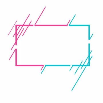 红色和蓝色双色故障风格边框文本框标题框信息框图片免抠AI矢量素材