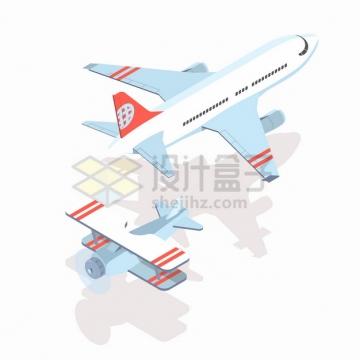 2.5D风格大型客机和螺旋桨双翼飞机png图片素材