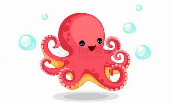 吹泡泡的卡通章鱼png图片免抠矢量素材