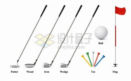 各种类型的高尔夫球和球杆球座旗杆等体育运动png图片素材