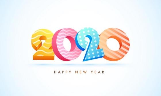 糖果色2020数字立体字体免抠矢量图素材