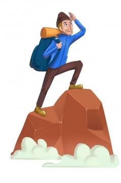 手绘卡通风格站到山顶爬山户外运动主题图片免抠素材