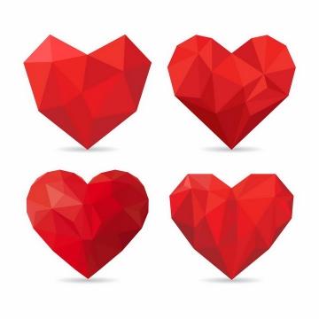 三角形多边形组成的4款红心爱心心形符号图案png图片免抠eps矢量素材