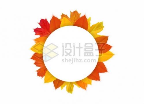 各种颜色的枫叶组成的圆形文本框标题框信息框738948png矢量图片素材