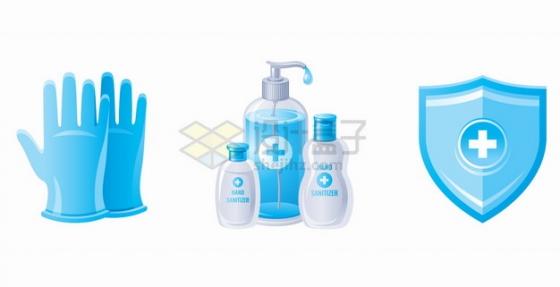 手套洗手液消毒液防护盾牌等医疗用品png图片素材