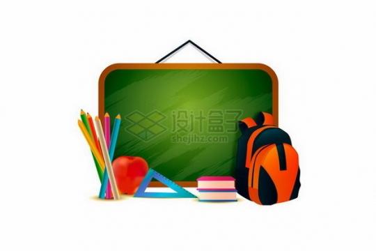 铅笔三角尺书包装饰的绿色小黑板文本框png图片免抠矢量素材