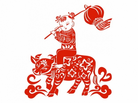 2021年牛年骑牛的娃娃打着灯笼红色剪纸247812png矢量图片素材