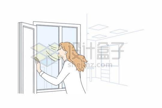 打开窗户通风透气的女员工手绘插画934127png矢量图片素材
