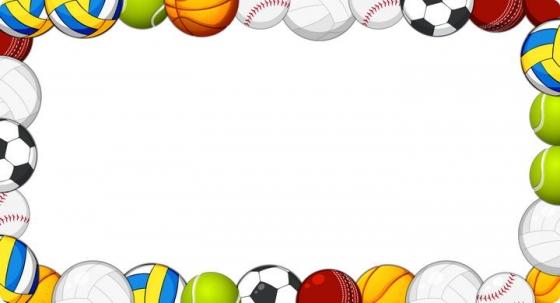 足球篮球排球等各种球类组成的边框图片免抠素材