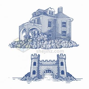 两款砖墙城堡别墅手绘素描插画png图片素材