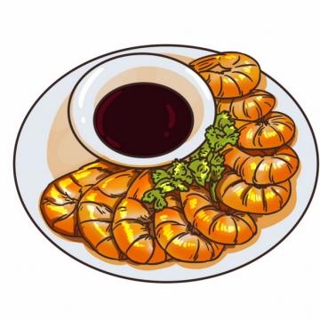 一盘大虾和酱料手绘插画721030png图片素材