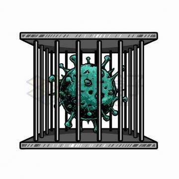 被关在铁笼子中的新型冠状病毒png图片素材