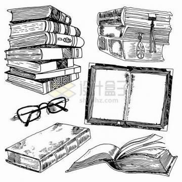 各种手绘涂鸦风格的书本眼镜png图片免抠矢量素材